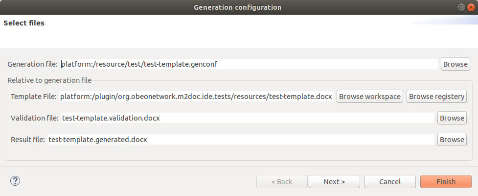 The Generation Configuration Wizard.