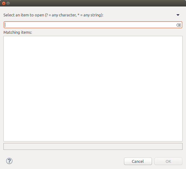 The service selection dialog.